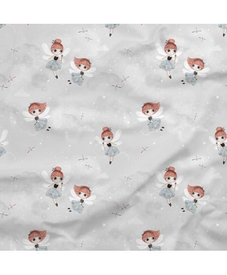 Tkanina bawełniana Wróżki Szare