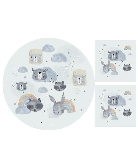 Panel welur na matę Zwierzaki Tęcze
