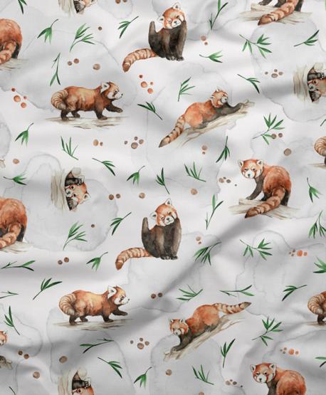 Tkanina bawełniana Panda Czerwona