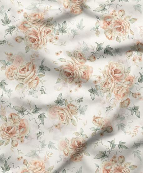 Tkanina bawełniana Kwiaty Krem
