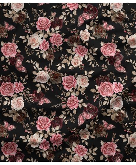 Tkanina bawełniana Róże Motylki Ciemne