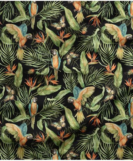 Tkanina bawełniana Papugi Ciemne