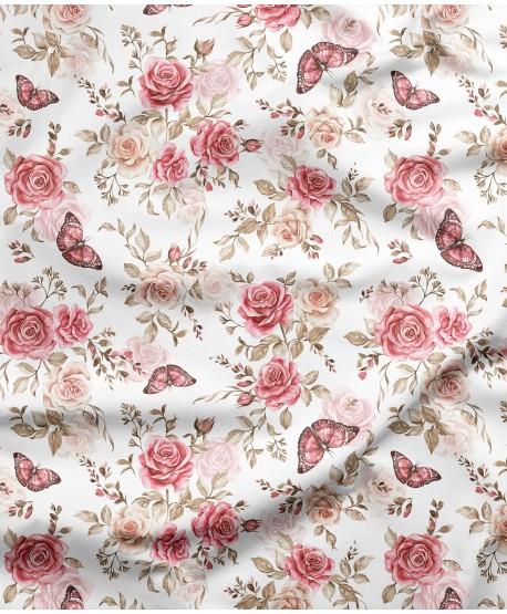 Tkanina bawełniana Róże Motylki Jasne