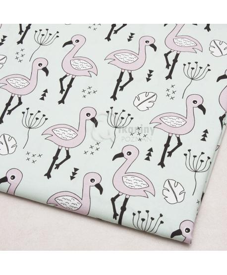 Tkanina bawełniana Flamingi