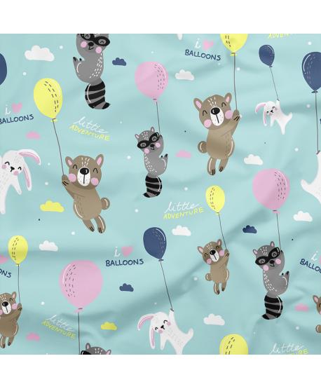 Tkanina bawełniana Zwierzaki z balonami